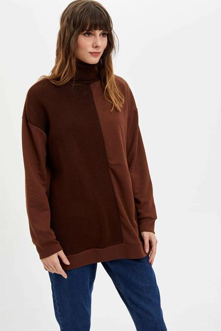 Defacto Kahverengi Uzun Sweatshirt