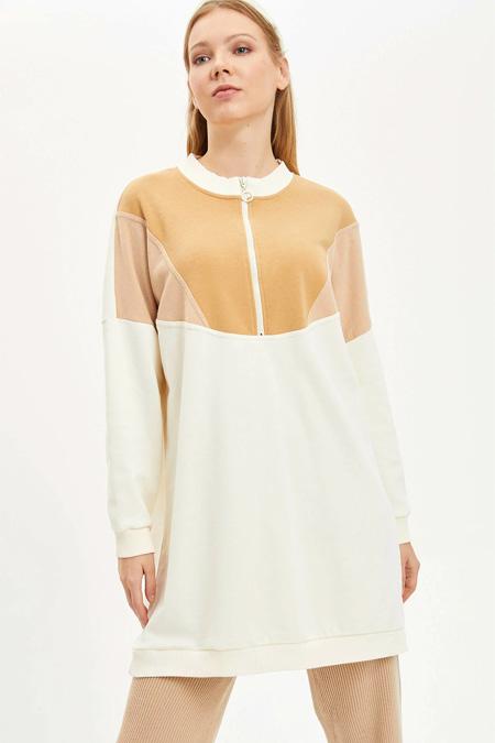 Defacto Renk Bloklu Uzun Sweatshirt