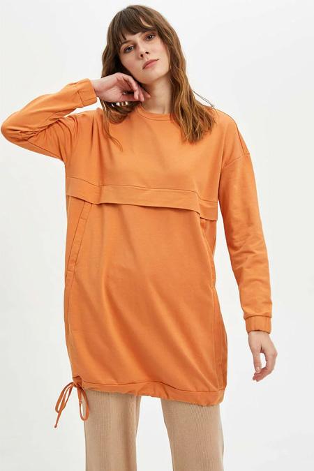 Defacto Turuncu Uzun Sweatshirt