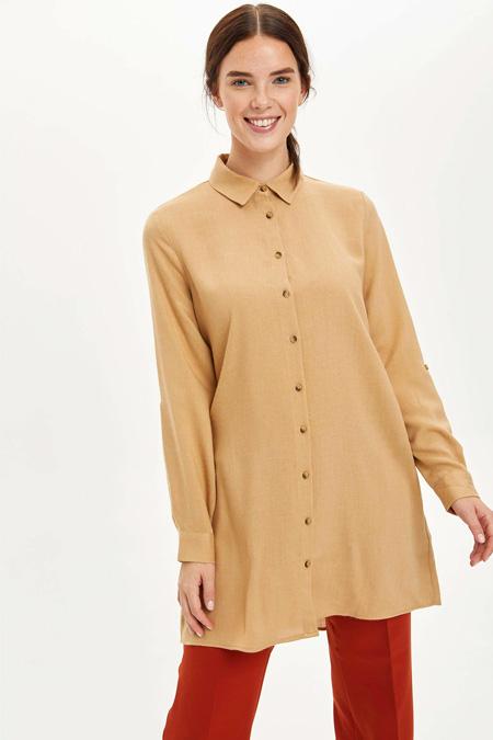 Defacto Vizon Yüksek Manşetli Tunik Gömlek