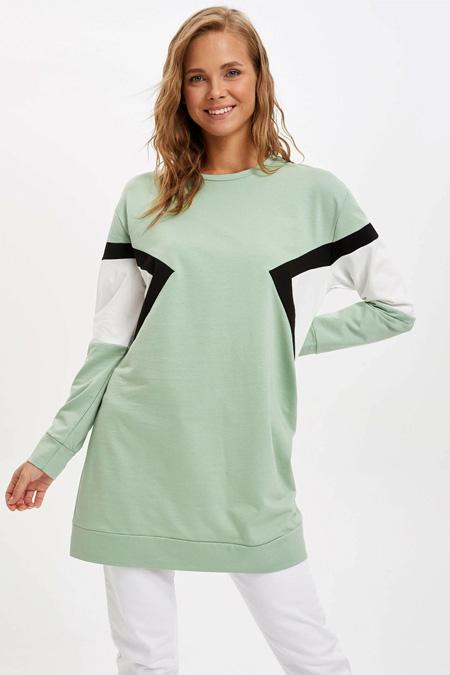 Defacto Yeşil Renk Bloklu Uzun Kollu Tunik