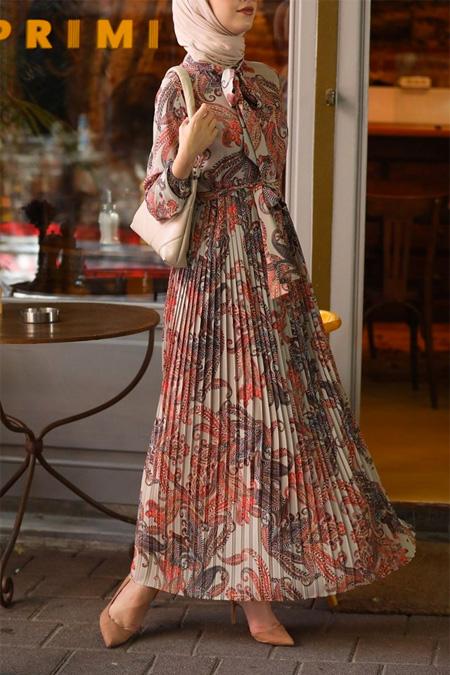 Esra Keküllüoğlu Turuncu Çiçekli Krep Elbise