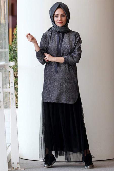 Gamze Özkul Siyah Kapüşonlu Sweatshirt