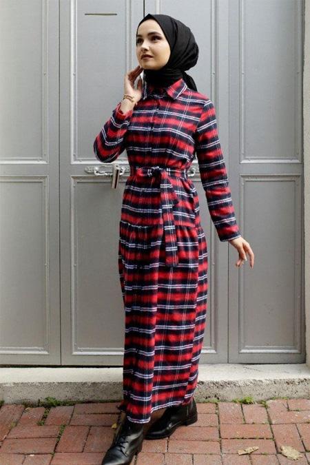 Gizce Kırmızı Ekose Elbise