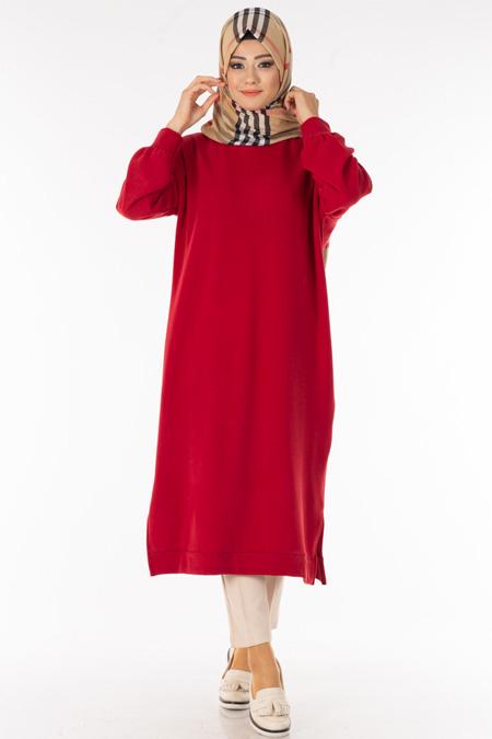 Kırmızı Uzun Selanik Tesettür Tunik
