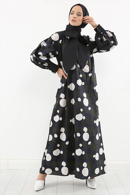 Liolle Siyah Polka Grafik Desenli Elbise