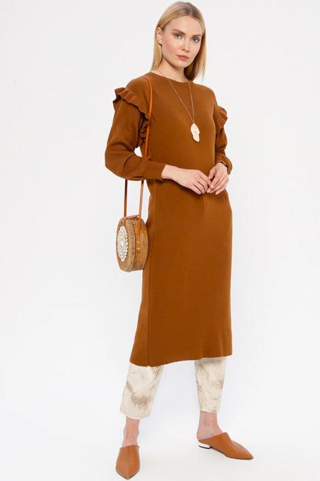 MY CITY Taba Triko Tunik Elbise