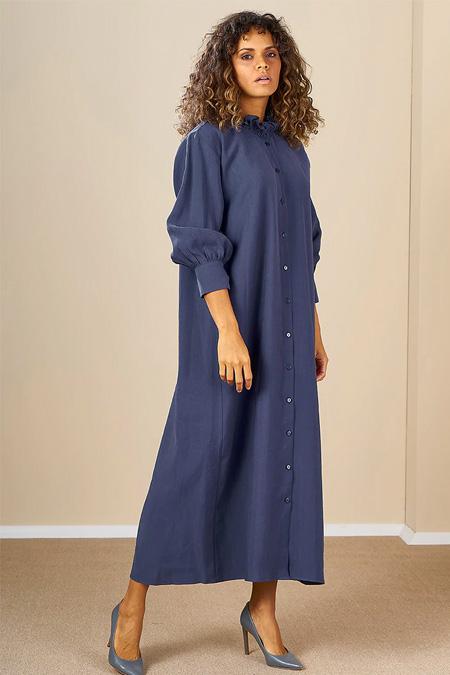 Mevra İndigo Önden Düğmeli Elbise