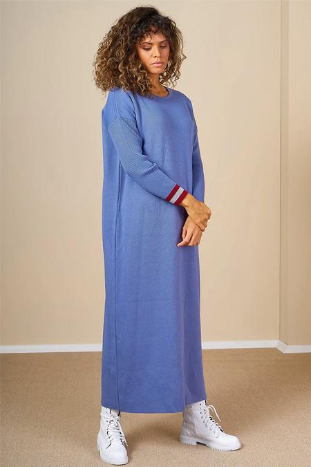 Mevra İndigo Triko Elbise