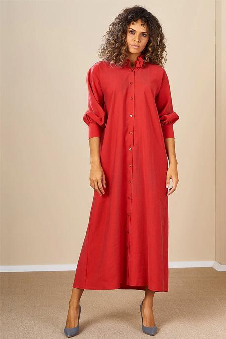 Mevra Kırmızı Önden Düğmeli Elbise