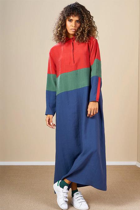 Mevra Kırmızı Yeşil Mavi Blok Renkli Elbise