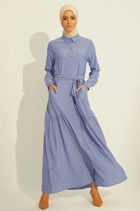 Mnatural Mavi Boydan Düğmeli Cepli Elbise