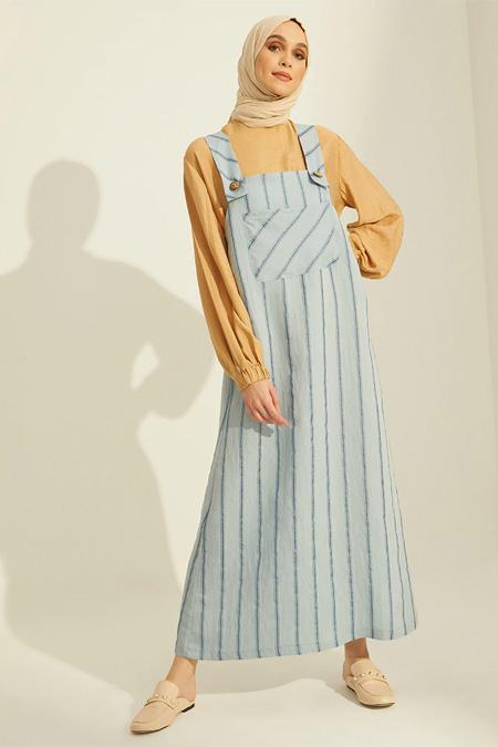 Mnatural Mavi Çizgili Tulum Elbise