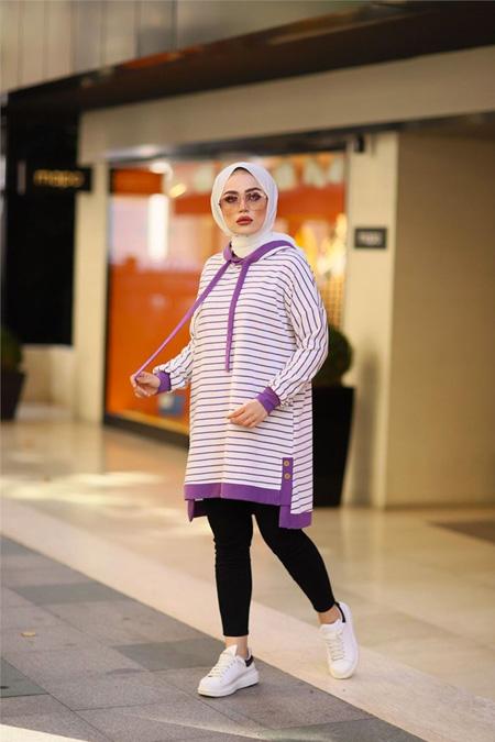 ModaBahar Çizgi Detaylı Kapüşonlu Tesettür Sweat