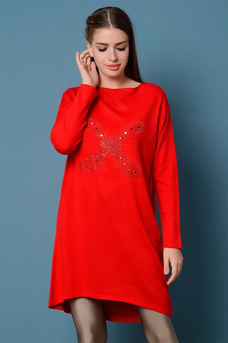 Nefise Kırmızı Pul Desenli Tunik