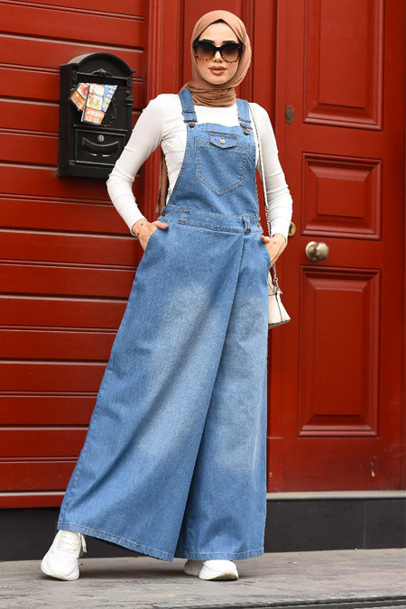 Neways Mavi Kot Salopet Pantolon