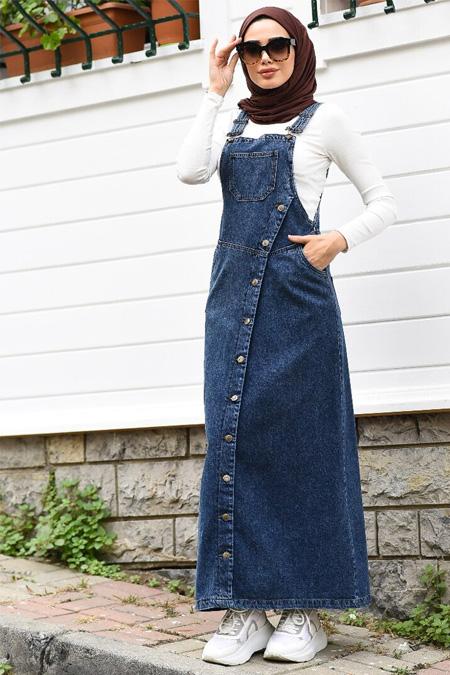 Neways Mavi Yanları Düğme Detaylı Elbise