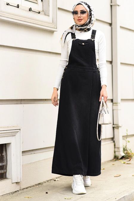 Neways Siyah Yanları Düğme Detaylı Elbise