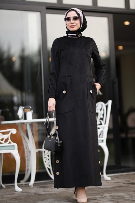 Piennar Siyah Rengin Kadife Elbise