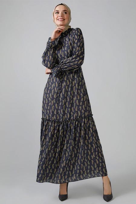 Refka Antrasit Zincir Desenli Elbise