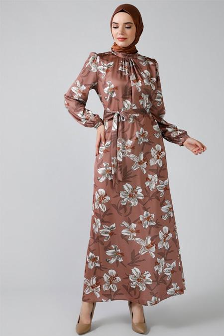 Refka Kahverengi Desenli Elbise