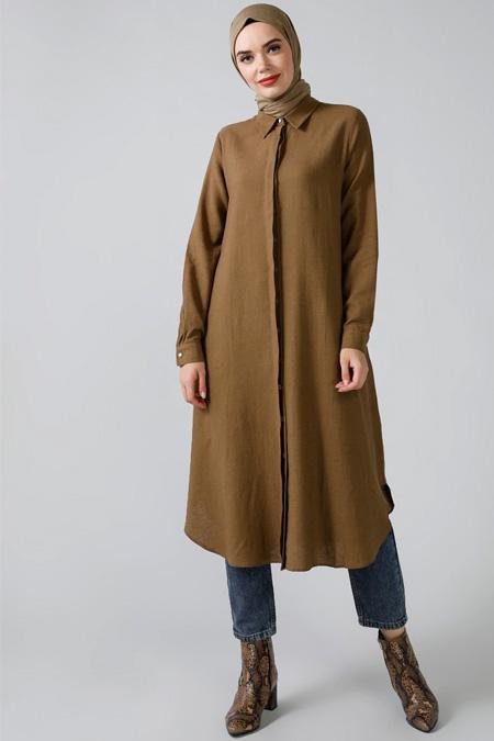 Refka Kahverengi Doğal Kumaşlı Gizli Düğmeli Tunik