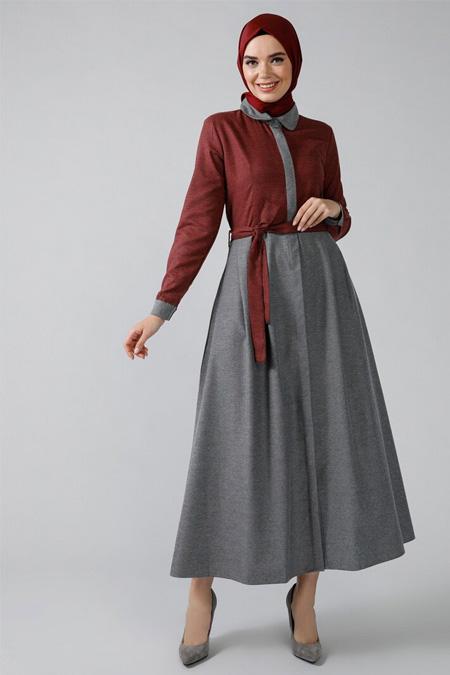 Refka Kırmızı Boydan Gizli Düğmeli Garnili Elbise
