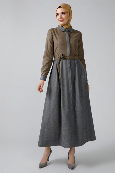 Refka Safran Boydan Gizli Düğmeli Garnili Elbise