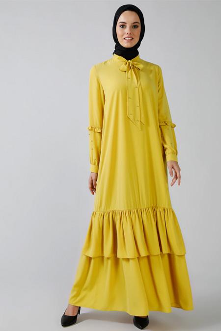 Refka Sarı İnci Detaylı Volanlı Elbise