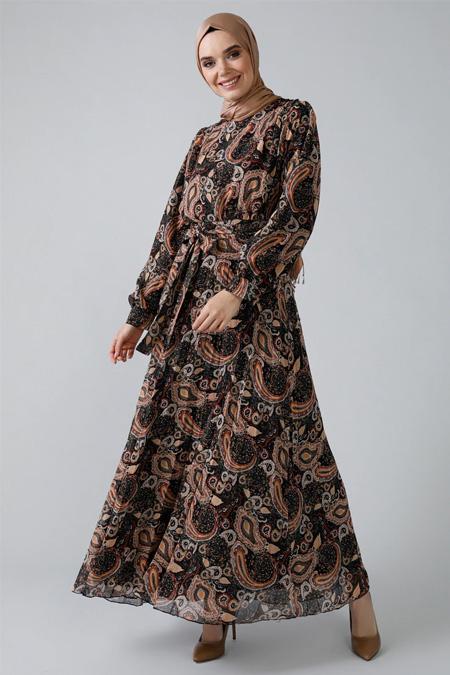 Refka Siyah Bordo Şal Desenli Şifon Elbise
