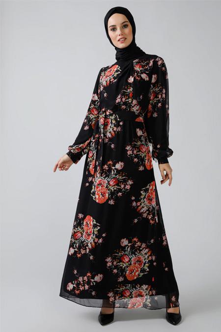 Refka Siyah Desenli Şifon Elbise