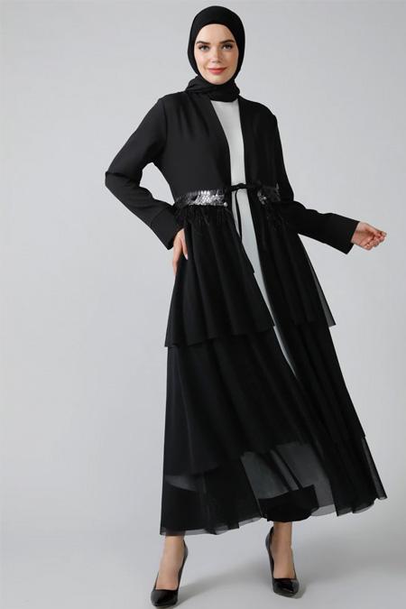 Refka Siyah Ekru Elbise Ferace İkili Abiye Takım