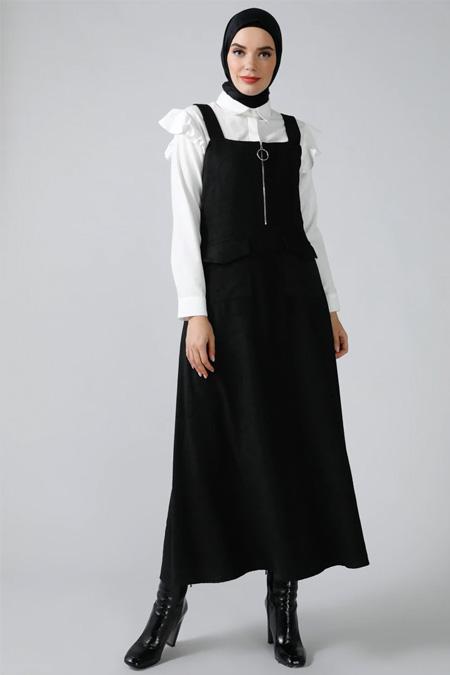Refka Siyah Fermuar Detaylı Cepli Kolsuz Elbise