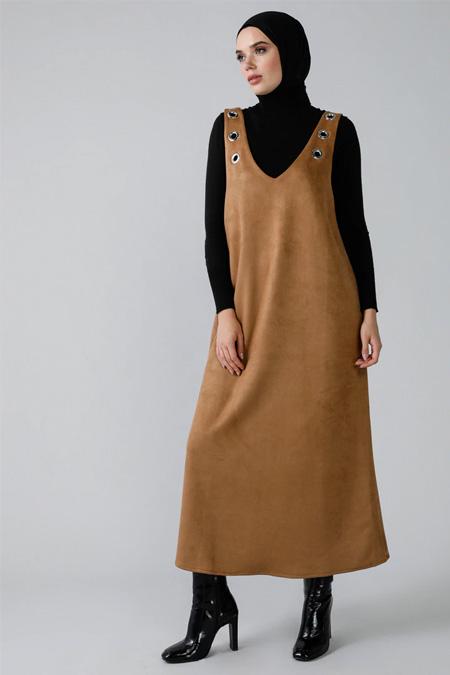 Refka Sütlü Kahve Kuş Gözü Detaylı Kolsuz Süet Elbise