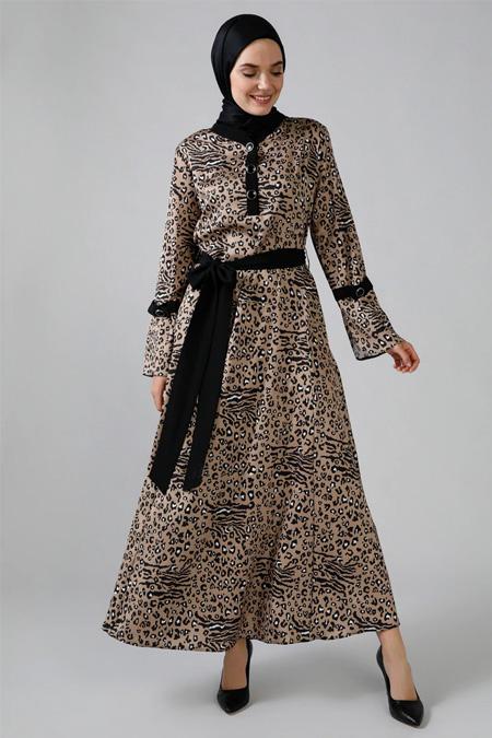 Refka Vizon Kahverengi Leopar Desenli Elbise