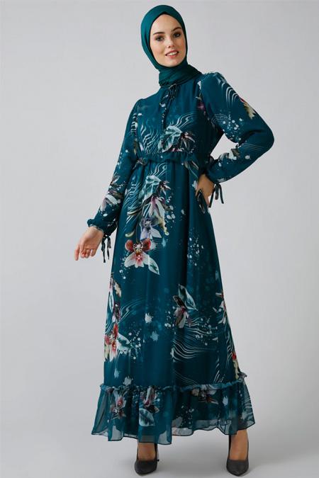 Refka Zümrüt Desenli Şifon Elbise