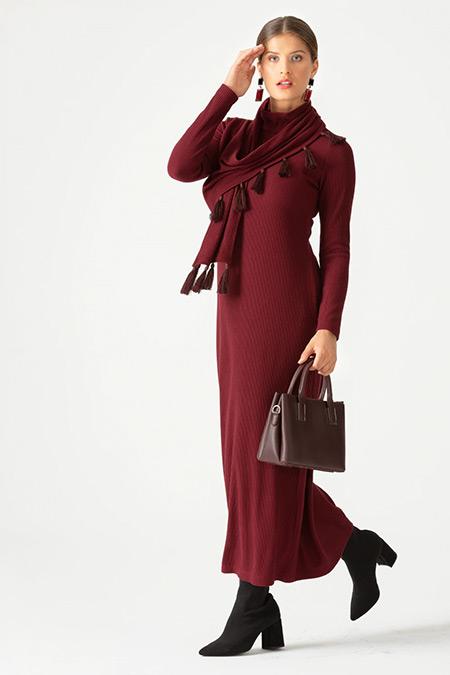 SCL Bordo Püskül Detaylı Örme Elbise