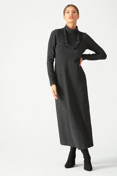 SCL Füme Boğazlı Yaka Fitilli Elbise