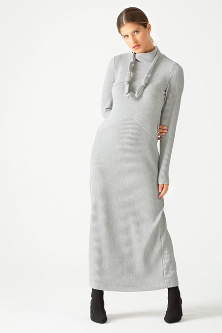 SCL Gri Boğazlı Yaka Fitilli Elbise