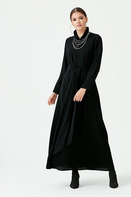 SCL Siyah Önden Kemerli Uzun Elbise