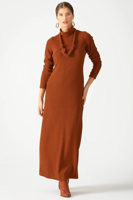 SCL Boğazlı Fitilli Taba Elbise