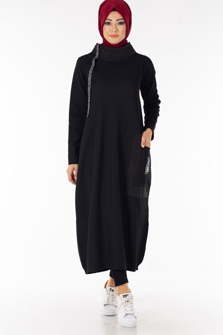 Siyah Boğazlı Cepli Uzun Tesettür Tunik