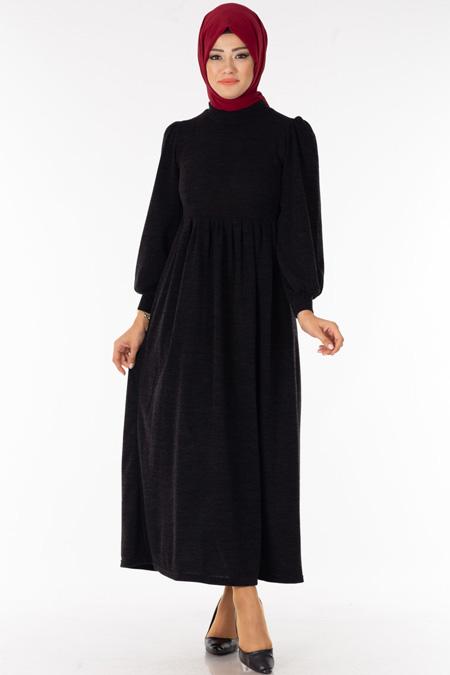 Siyah Boğazlı Triko Tesettür Elbise