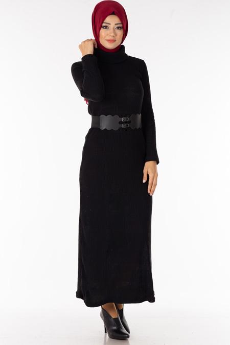 Siyah Degaje Yaka Kemerli Tesettür Elbise