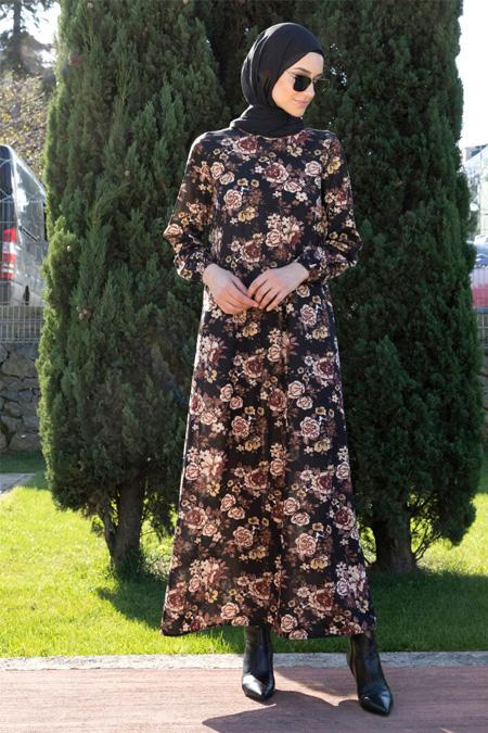 Tavin Kahverengi Desenli Elbise