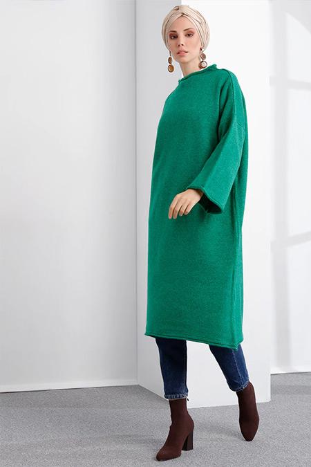 İnşirah Yeşil Triko Tunik