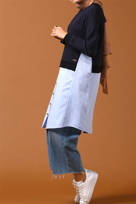 Allday Lacivert Gömlek Garnili Düğmeli Tunik