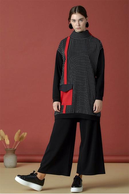 Arzen Siyah Cep Detaylı Çizgili Tunik