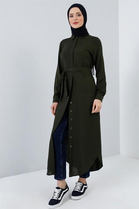 Benin Koyu Haki Doğal Kumaşlı Tunik Elbise