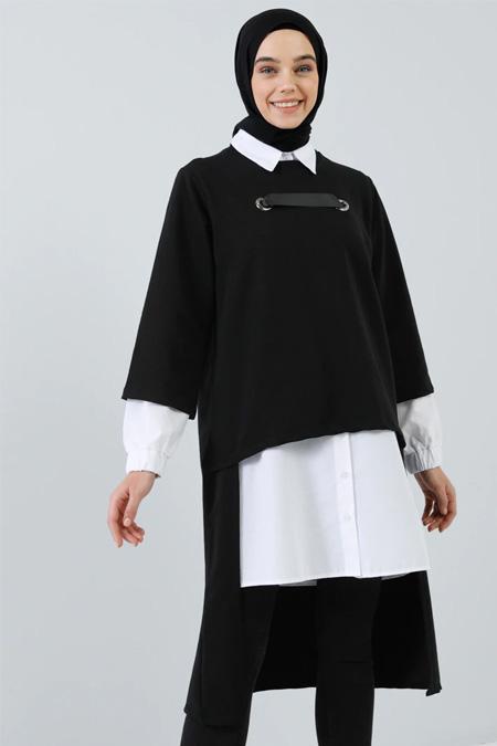 Benin Siyah 2`li Tunik Takım
